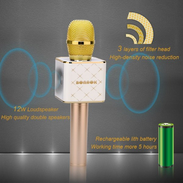 Wireless Karaoke Microphone 3-in-1 Gold Microphone Portable Built-in Bluetooth Speaker Machine for iPhone Apple Android PC and Smartphone-158