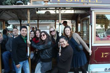 The 45 minute line was worth the wait! The cable car ride was a great way to look at the city of San Francisco. L-R, David, Deb, Natalia, Chiara, Marika, Anna and I