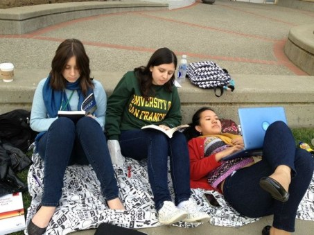 Studying in the grass is one of the best things you can do in USF if its sunny. We took advantage of that this day.