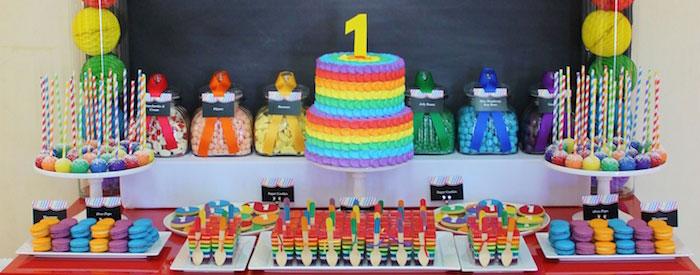 Kara S Party Ideas Rainbow Themed First Birthday Party