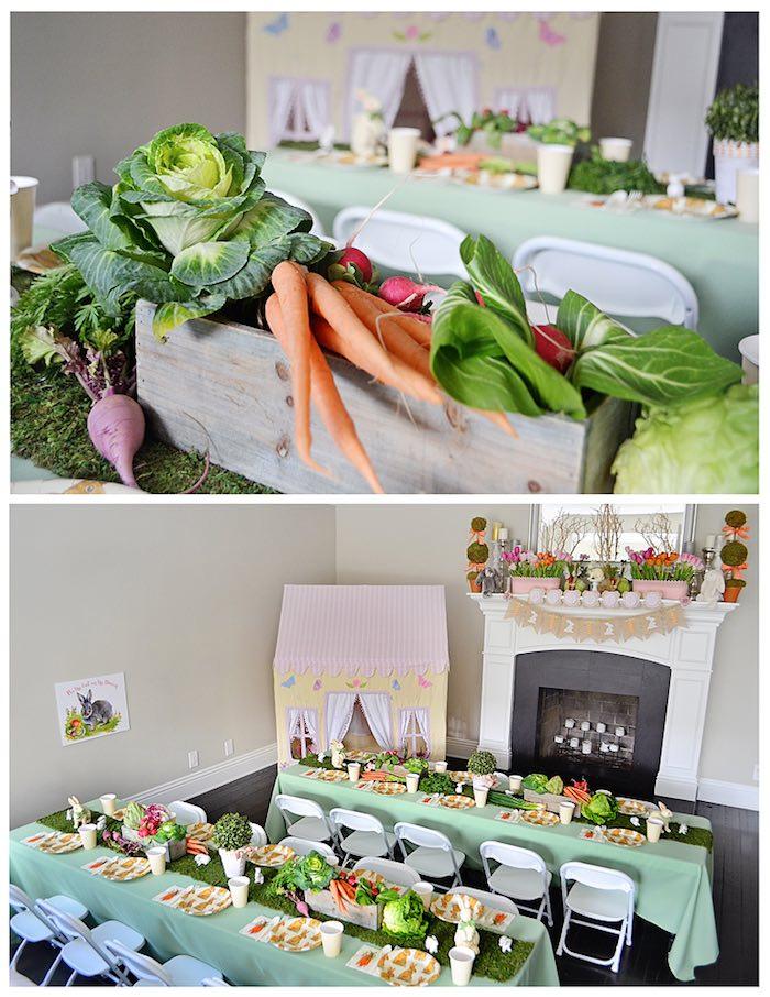 dining tables garden centerpieces from a bunny birthday party via kara s party ideas karaspartyideas