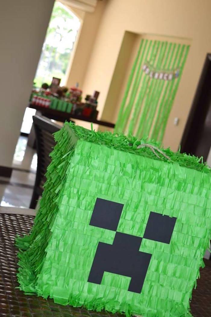 Karas Party Ideas Creeper Pinata From A Minecraft Birthday Party Via Karas Party Ideas