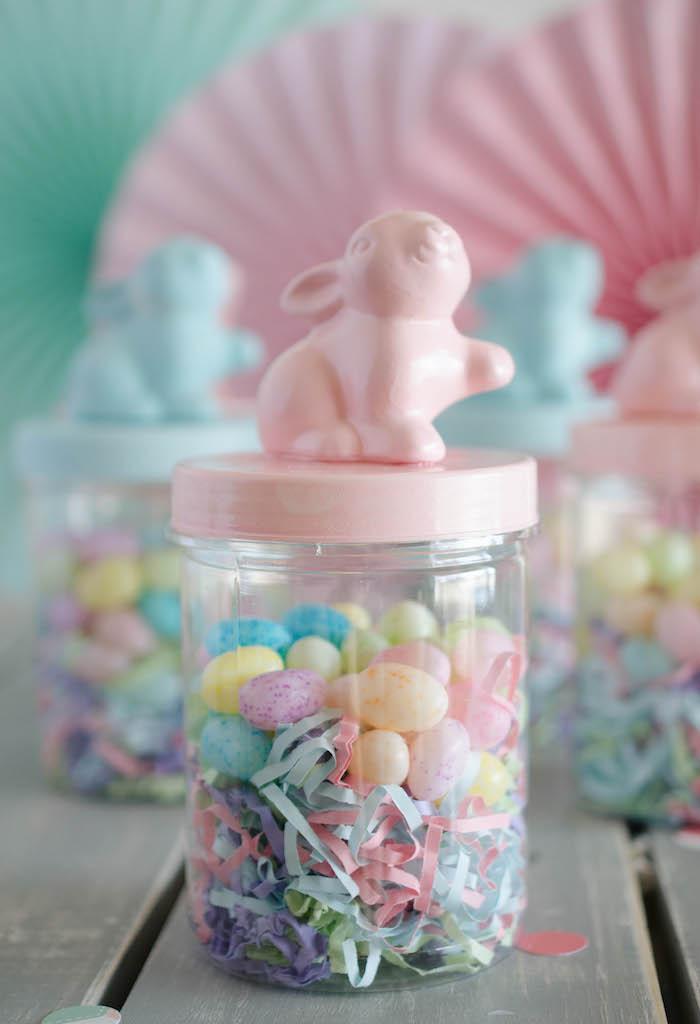 Karas Party Ideas Bunny Favor Jar From An Easter Tea