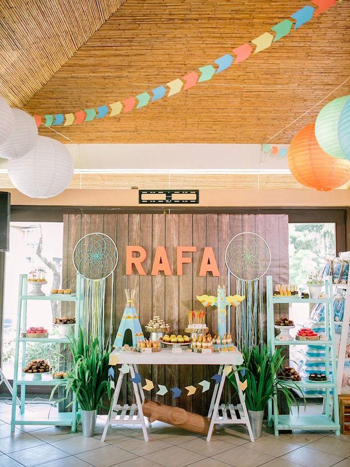Karas Party Ideas Camp Rafa Pow Wow 1st Birthday Party