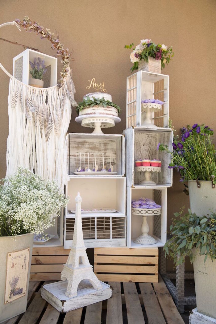 Karas Party Ideas French Country Bohemian Bridal Shower