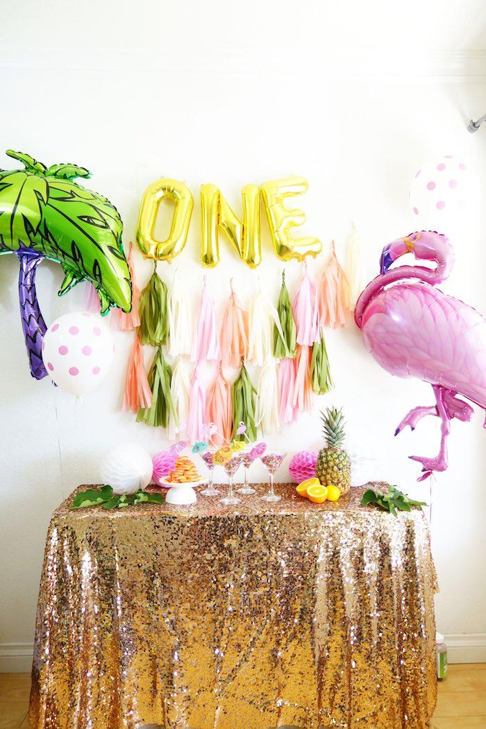 Karas Party Ideas Glamorous Tropical Flamingo Birthday