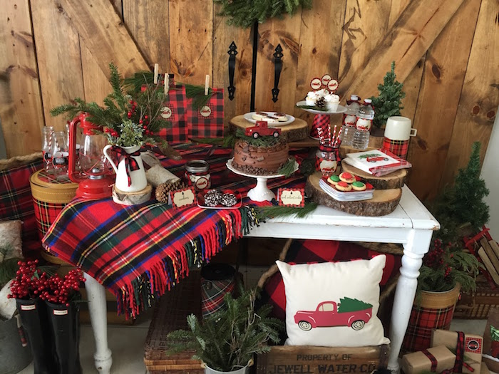 Kara's Party Ideas Vintage Rustic Plaid Christmas Party