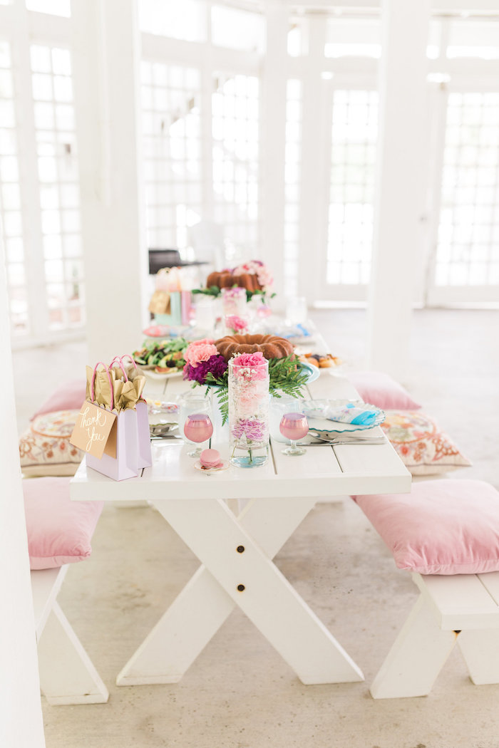 dining tablescape from a vintage shabby chic ladies luncheon on kara s party ideas karaspartyideas