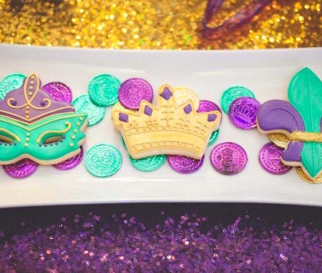 Mardi Gras Sugar Cookies From A Mardi Gras Themed Birthday Party On Karas Party Ideas