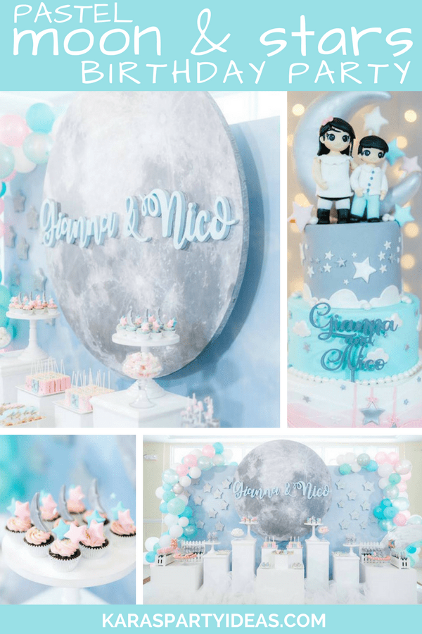 Kara S Party Ideas Pastel Moon Amp Stars Birthday Party