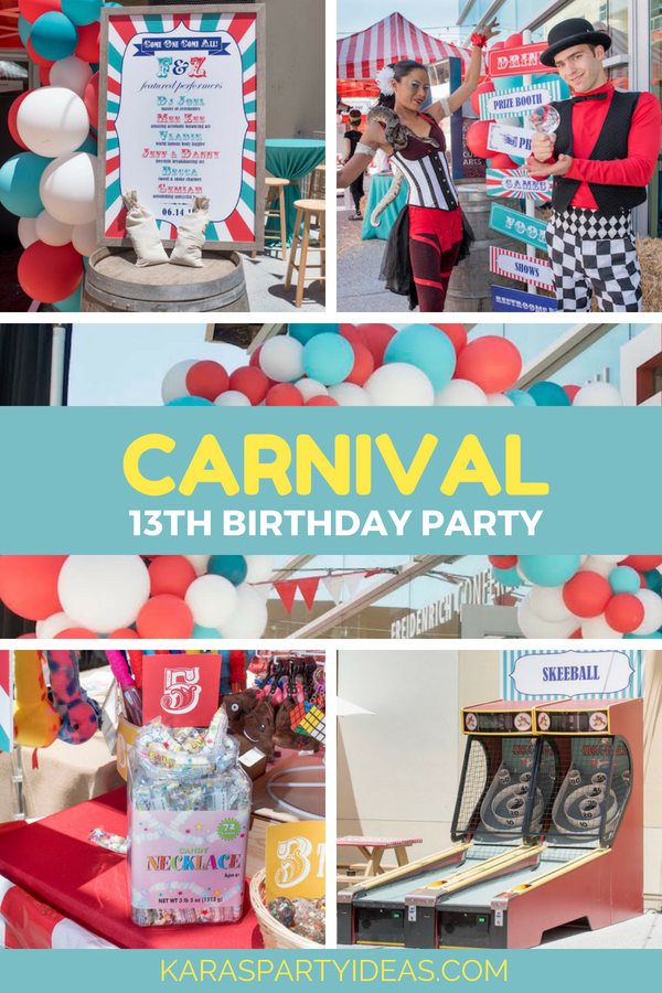 carnival 13th birthday party
