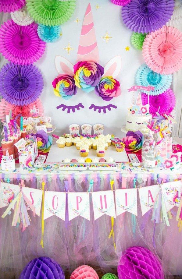 Unicorn party ideas, Vibrant Unicorn Birthday Party on Kara's Party Ideas | KarasPartyIdeas.com (10)