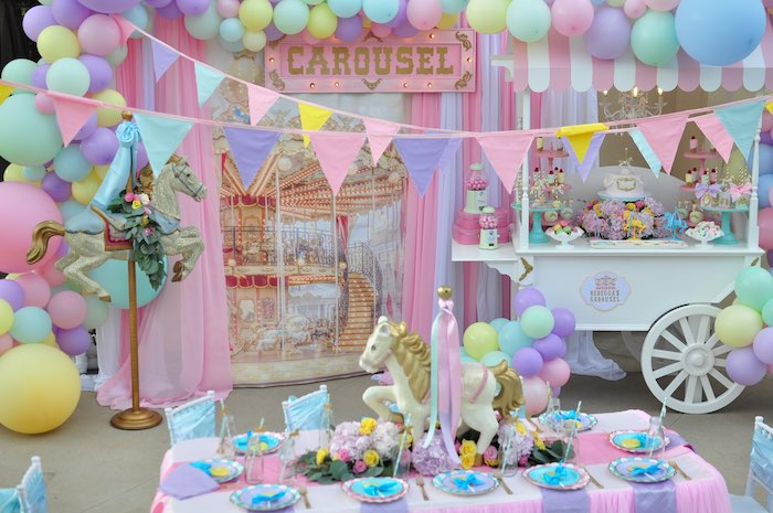 vintage pastel carousel birthday party