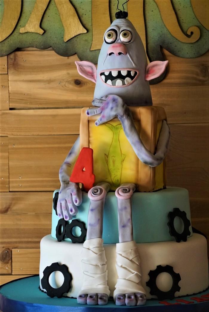 Box Troll Birthday Cake from a Box Troll Birthday Party on Kara's Party Ideas | KarasPartyIdeas.com (6)
