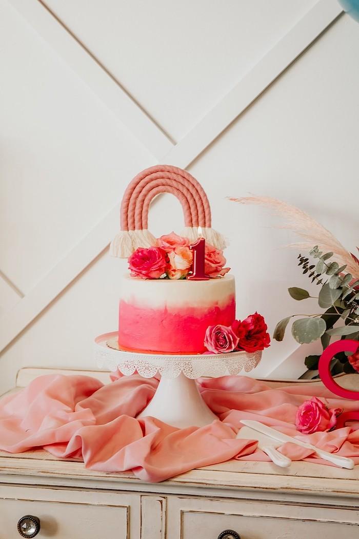 Rainbow Cake from a Rainbow First Birthday Party on Kara's Party Ideas | KarasPartyIdeas.com (23)