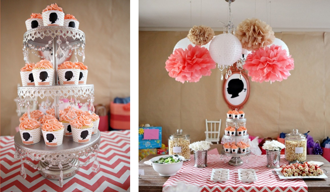 Karas Party Ideas Gilr Silhouette And Chevron Print 2nd