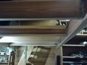 Stairs on correct side of beam, cross supports almost in.