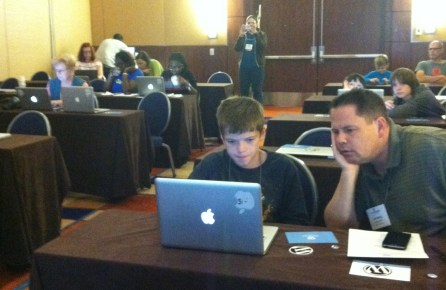 Workshop attendees working hard.