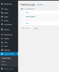 Advanced Custom Fields group set up screenshot
