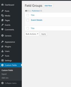 Advanced Custom Fields group set up screenshot
