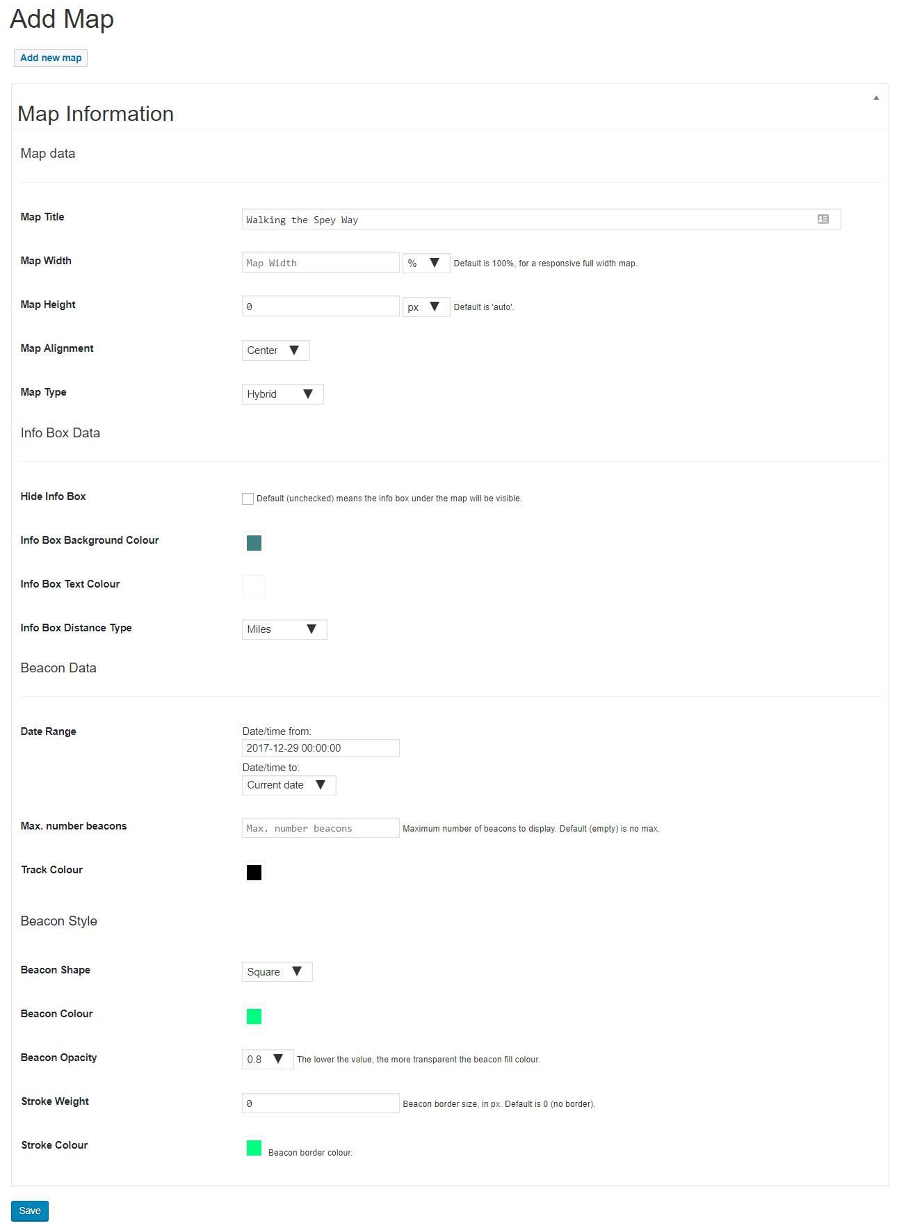 Example BuddyBeacon Maps 'add map' setting page
