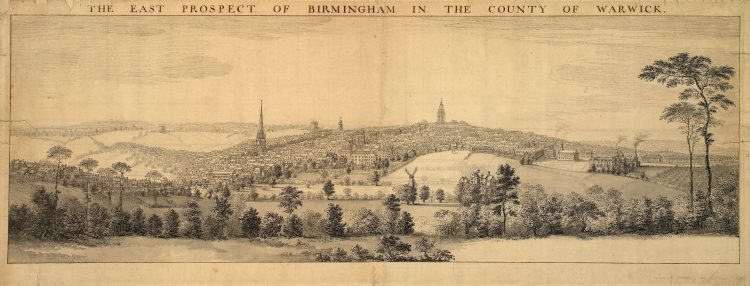 The East Prospect of Birmingham in the County of Warwick, 1753 by Samuel Buck. Birmingham Museums and Art gallery. CC0 - Public Domain