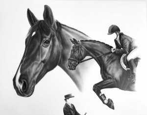 Kunstwerke mit Bleistift Komposition Zeichnung Pferd