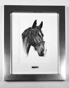 Pferdeportrait gerahmt Gemäldeschild