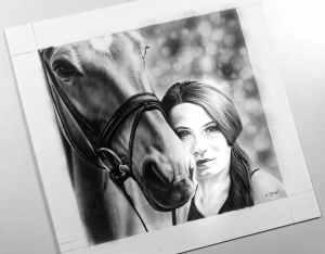 Portraitzeichnung Mensch Pferd