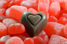 Gummy Hearts - Close Up with Chocolate