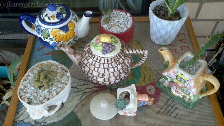succulent tea pots_copyright2014KarenCarlisle