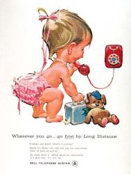 Vintage Bell telephone naked baby ad2