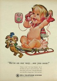 Vintage Bell telephone naked baby ad4