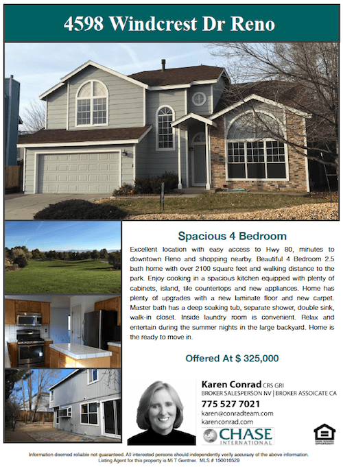 Open House 4598 Windcrest Dr Reno NV Karen Conrad Realtor