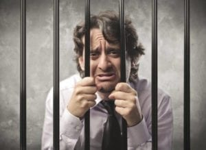 Crying man in jail for not paying child support