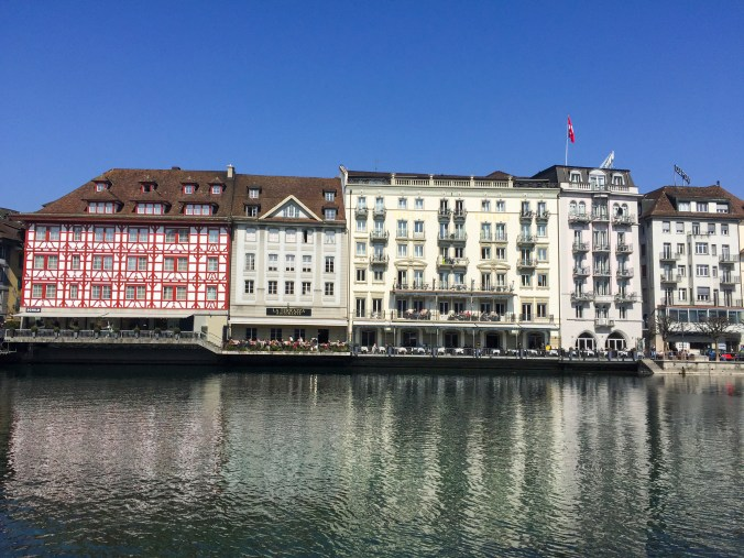 Pretty Buildings on Water in Luzern