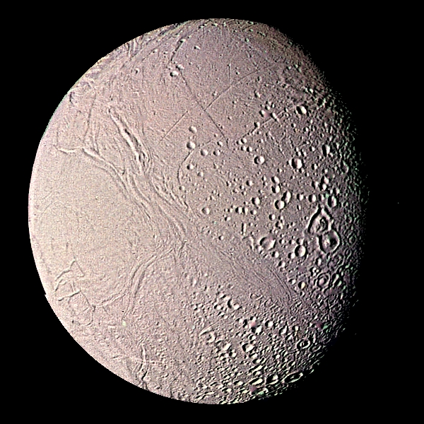 Enceladus as seen by Voyager 2