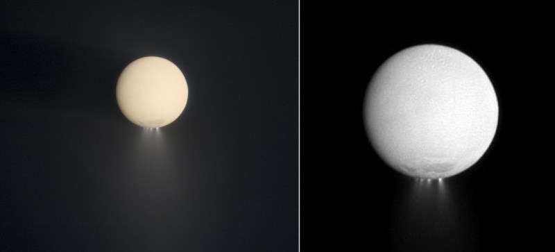 Two views of the plumes of Enceladus