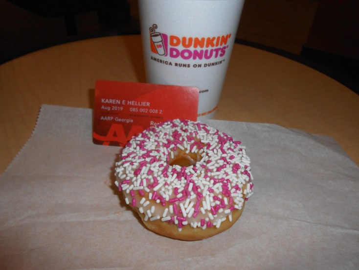 I love getting a free donut at Dunkin Donuts with my AARP card when I order a large or extra large coffee!
