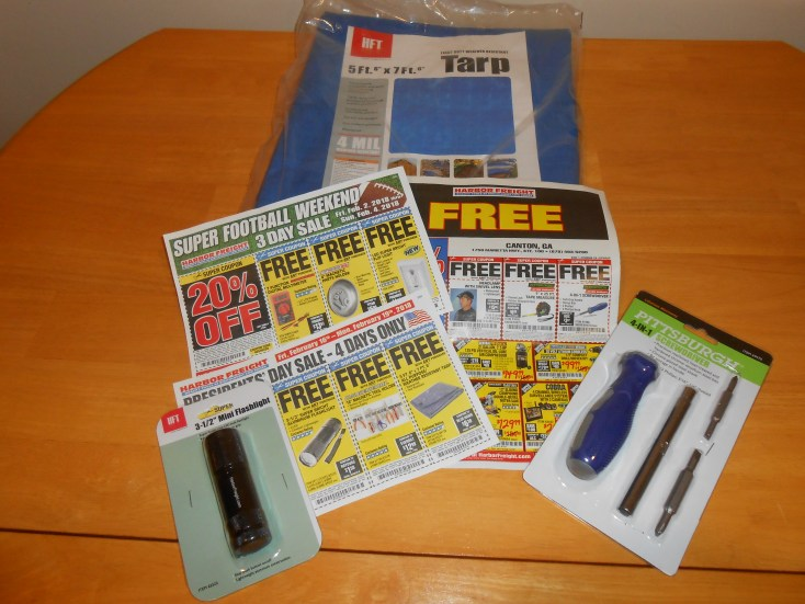 Harbor Freight gives coupons for free items in their store fliers.