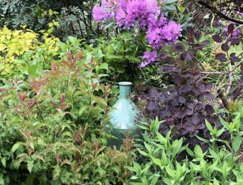 Vase in Garden, A Tormented Gardener in a Garden of Bliss, Karen Hugg, https://karenhugg.com/2019/05/24/garden-of-bliss/, #gardening #garden #plants #KarenHugg