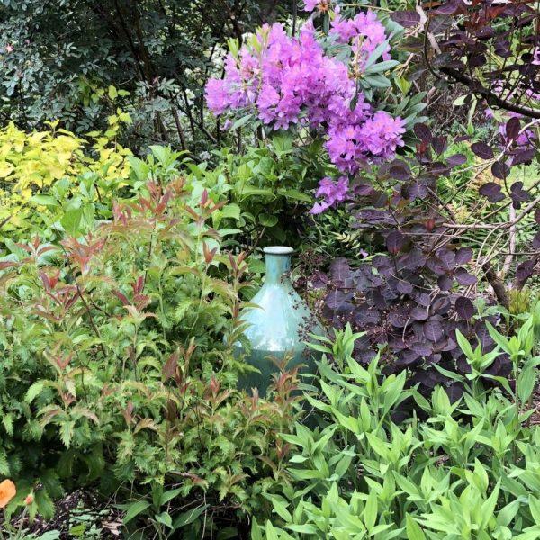 Vase in Garden, A Tormented Gardener in a Garden of Bliss, Karen Hugg, https://karenhugg.com/2019/05/24/garden-of-bliss/, #gardening #garden #plants #KarenHugg