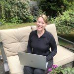 Karen Hugg in garden, Thrilled to Be in The Big Thrill, Karen Hugg, https://karenhugg.com/2021/09/01/the-big-thrill/, #books, #mysteries, #thrillers, #gardening, #plants, #novel, #HarvestingtheSky, #KarenHugg
