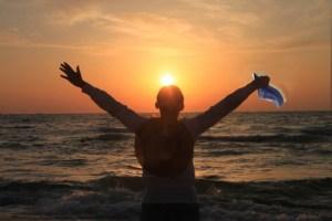 depression sunrise with man