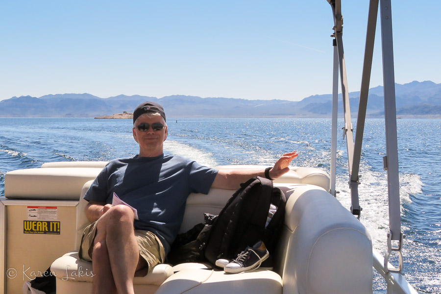 Greg on the boat at Lake Mead
