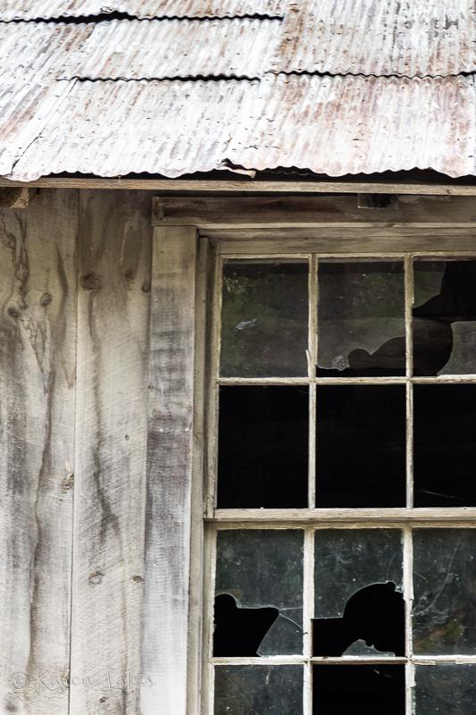 rustic broken window