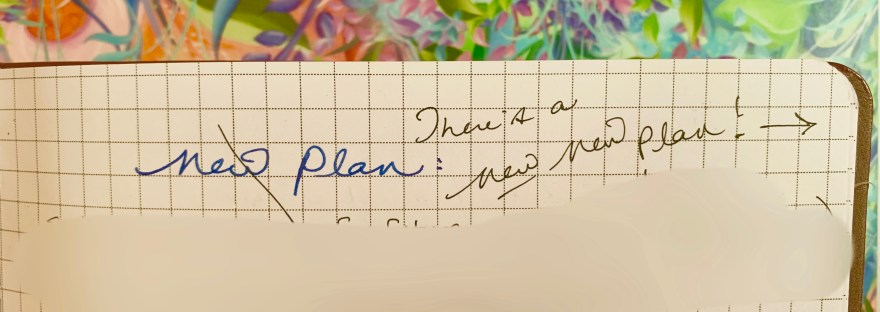 "notebook page with ""new plan"" crossed out and ""new new plan"" written"