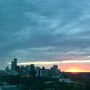sunrise with a the downtown skyline of Edmonton