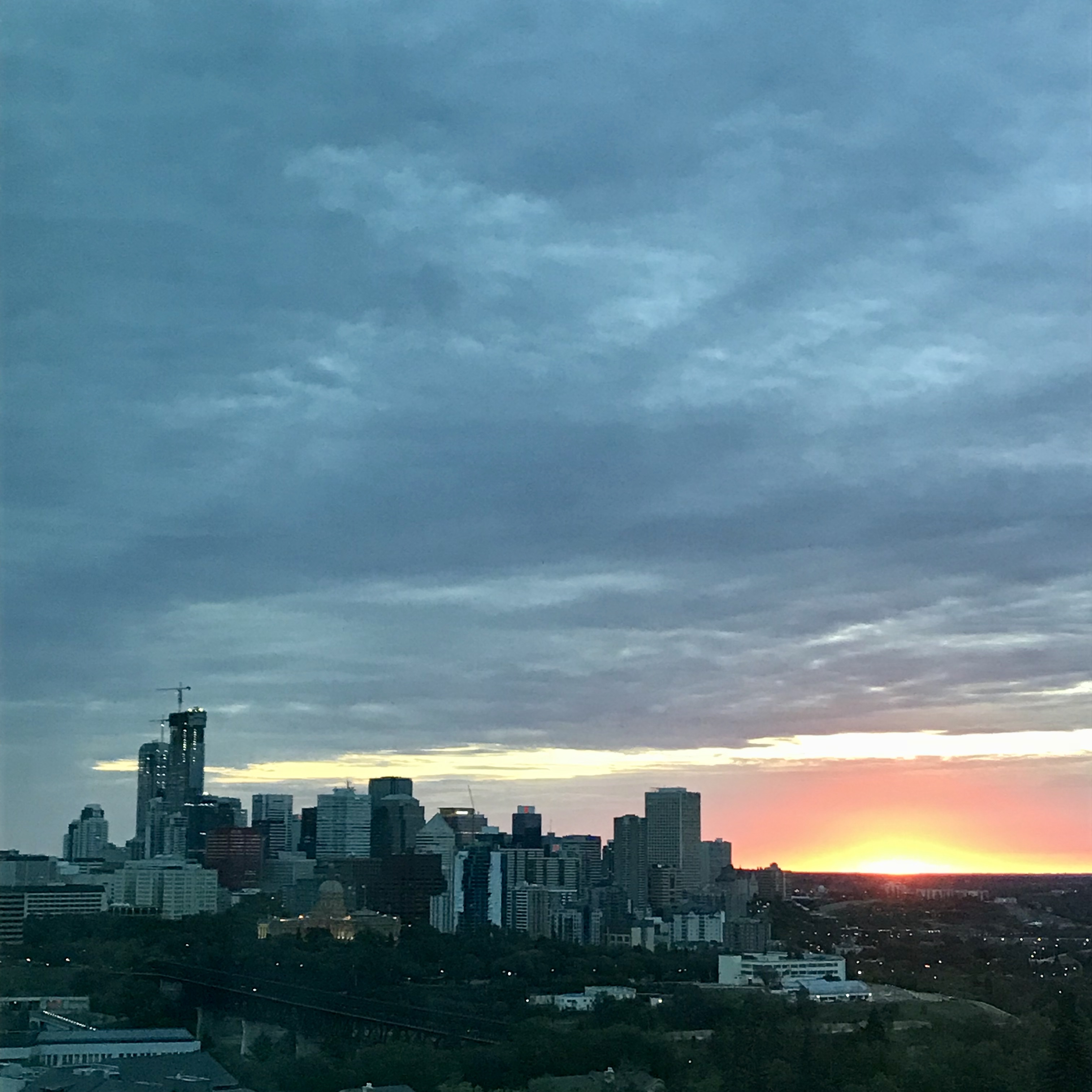 sunrise with a the downtown skyline of Edmonton
