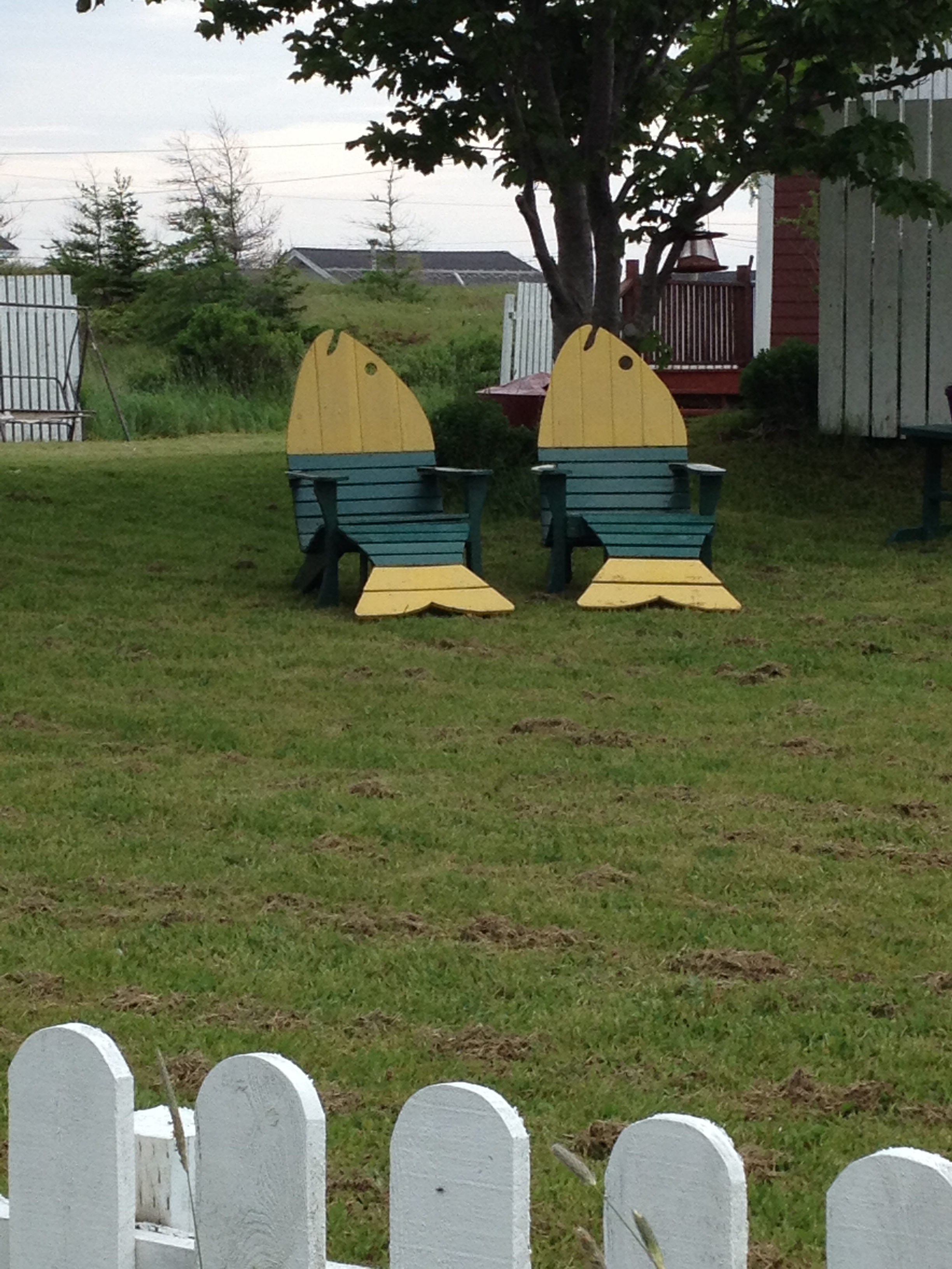 two wooden chairs shaped like fish